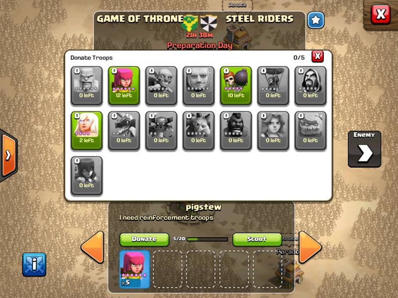 Clash of Clans - Clan Wars Donations
