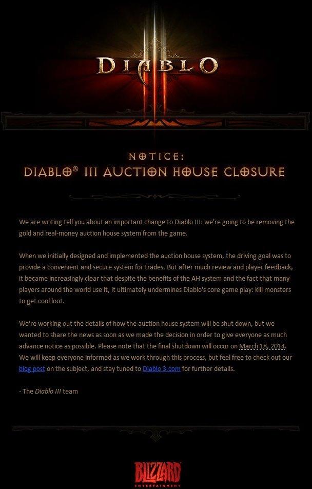 Diablo 3 Auction House Closure