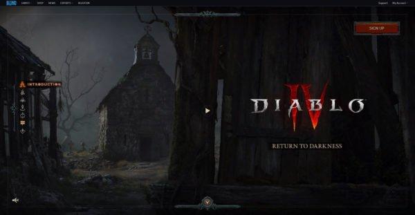 Diablo 4 Website Homepage Return to Darkness