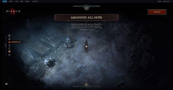 Diablo 4 Website Gameplay Abandon All Hope